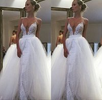 Wholesale Sheath Beach Lace Spaghetti Straps Wedding Dresses Backless with Detachable Train Tulle Skirt Bridal Gowns