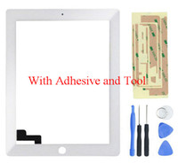 Wholesale Front Glass For iPad Touch Screen Digitizer for iPad2 Touch Panel Sensor White Black adhesive Tool