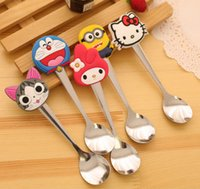 Wholesale New Fashion Creative Silica Gel Cute Cartoon Stainless Steel Children s Spoon Soup Coffee Stirring Kid s Spoon