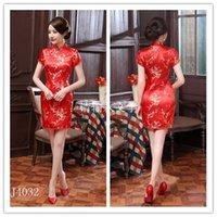 al por mayor bridesmaid dress in china-Satinado vestido de seda hecho a mano de Reds mujeres chinas con encanto informal Cheong-sam vestido de dama de Arena ropa falda TAMAÑO S-6XL