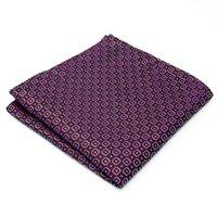 azure purple - AH25 Purple Azure Geometric Mens Pocket Square Silk Wedding Fashion Hanky Classic Dress Brand New Handkerchief