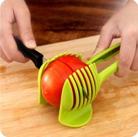 Wholesale 1pc Tomato Slicer Fruits Cutter Stand Utensilios De Cozinha Assistant Lounged Tomato Lemon Shreadders Slicer Random Color
