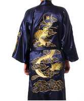 Wholesale Burgundy Silk Embroidery Dragon Kimono Bathrobe Gown Women Sexy Satin Robe Long Nightgown Size S M L XL XXL XXXL BR040