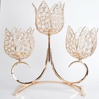 Wholesale 1 piece Metal Gold Plated Arms Candle Holder Clear Crystal cm Tall Wedding Event Candelabra Centerpiece Decoration Candlestick
