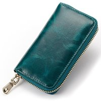 ans wax - High quality Vintage oil wax genuine cow leather key case women amp men s versatile Luxury car key holder small wallet ANS CL