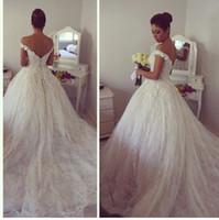Wholesale Gorgeous Off the Shoulder Ball Gown Wedding Dresses Tulle Lace Appliques Sweep Train Bridal Gowns Vestidos de festa novia