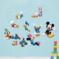 Wholesale 3D Cartoon Mickey Minnie mouse Donald Duck wall stickers kids room christmas gift decor movie wall art removable decals X011