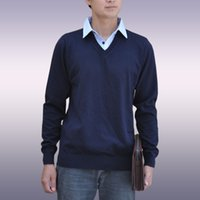 Wholesale FALL Mens Sweater Long Sleeve Sewing Shirt Collar Business Casual Wear Pullover Lapel Half Open Neck for Autumn Jersey Plus size XXL G