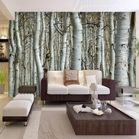 Wholesale Custom Seamless Mural Simple European D White Birch Forest Wallpaper Bedroom Living Room TV Backdrop Wallpaper Wall Covering