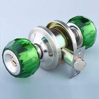 bedroom door key - Unique high quanlity crystal round key lock bedroom cylindrical latch door knob locks