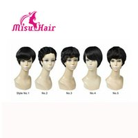 Wholesale Human Hair Wigs for Black Women Lace Front Natural Color Straight Africa American Wigs Cheap Short Human Hair Wig Short Afro Wig