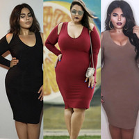 Wholesale plus size maxi dresses pencil bodycon cotton dress winter autumn women knee length clothing Long Sleeve Skirt red black clothes L XL