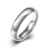 Wholesale 4mm Titanium Band Brushed Wedding Rings Solid fashion ring glossy L stainless steel rings for women men Valentine s Day TGR002