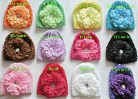 Unisex Winter Crochet Hats 20pcs baby waffle caps crochet hats hair flower clips beanie with lily peony daisy flower girl toddler stretchy caps MZ9111