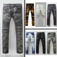 army print jeans - Balmain Ripped Jeans Men Straight Fashion Designer Cheap Robin Jeans Men s Jeans Printed Jeans Casual Balmain Pants Balmain Biker Jeans