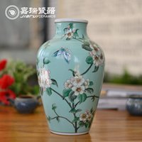 Wholesale Authentic Chinese White Ceramic Flower vase Home Decoration tabletop vase Living room ornaments