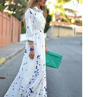 Wholesale summer style polka dot print Bohemian elegant maxi dress lady wear women long sleeve fashion chiffon long