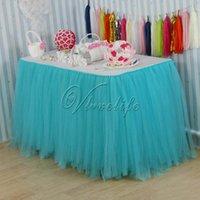 Wholesale 100cm x cm Light Blue Tulle Tutu Table Skirt Tulle Table Skirting Tableware Wedding Birthday Baby Shower Chrismas Party Table Decoration