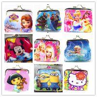 Wholesale Kids D Cartoon coin purse Iron Button purses wallets bags Shell Bags Children girls boys handbag Despicable Me Frozen princess pikachu