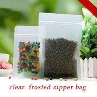 achat en gros de grossiste zipper-100pcs / lot 13cm * 20cm * 200Micron Matt Plastic Zipper Bag sacs de farine alimentaire Pouch Grossiste
