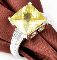 Cheap Jewelry Gift Trendy Square Citrine Gemstone 925 Sterling Silver Plated Ring