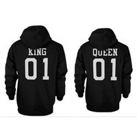 Wholesale KING And QUEEN Letter Printed Fleece Hoodie Hooded Fleece Long Sleeved Couple Sweater Sweatshirt Loose For Women And Men