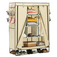 Wholesale 69 quot Wardrobe Portable Closet Storage Organizer Clothes Shoe Rack Shelves Beige