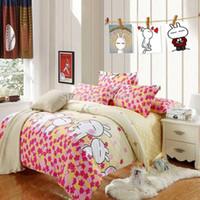 Wholesale cheaper cotton girls bedding set pc duvet quilt covers flat sheet pillow sham full queen size yellow pink polka dot rabbit