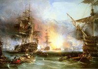 battle paintings - ship in naval battle Genuine Handpainted Classic Art oil Painting On Canvas Museum Quality in any size chosen