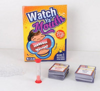 Wholesale hot Party Game Board Game Watch Ya Mouth Game cards mouthopeners Family Edition Hilarious Mouth Guard HHA1130