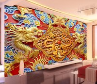 art woodcuts - Luxury D Wallpaper Golden Dragon Photo Wallpaper Woodcut Wall Mural Bedroom Hotel TV Backdrop wallpaper Chinese Art Room Decor wall paper