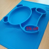baby food holder - Nana Kids Placemat One piece silicone placemat Baby Suction Plate Bear Tableware Food Holder Toddlers Feeding placemat
