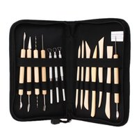 Wholesale 14Pcs Wooden Metal Pottery Clay Molding Sculpture Sculpting Tools Kit With Case Hand Tool Sets
