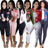 Wholesale Zipper Patch Designs outerwear Coats baseball jacket embroidered bomber shortjacket women fashion coat Jackets long sleeve