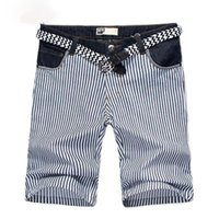 Wholesale Men s Shorts Hot Sale Summer Fashion Striped Casual Shorts Without Belt Comfortable Bermuda Size Colors