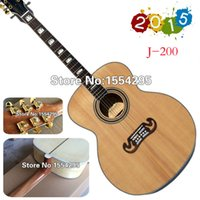 acoustic basswood spruce - High quality Acoustic Guitar G j200 Natural guitar J Solid Spruce top