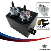 Wholesale PQY RACING L Dual BILLET ALUMINUM FUEL SURGE TANK SURGE TANK With pc FUEL PUMP SILVER OR BLACK PQY TK84044