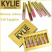 Wholesale 2016 Latest Kylie Jenner lipgloss Cosmetics Matte Lipstick Lip gloss Lip Birthday Limited Edition gold retail packaging make up colors
