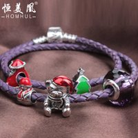 Wholesale Christmas gift silver real cowhide rope bracelet Purple double ring with a small crown on the rope american hot style strands