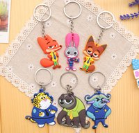 Wholesale Zootopia Keychains Toys Judy Hopps Nick Wilde PVC Key Chain Pendant Souvenir Zootopia Designs Key Ring Cartoon key chain
