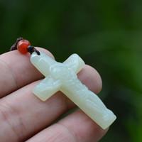 Wholesale Singapore Hetian Jade - Hetian jade pendant cross Jesus hanging drop hetian jade pendant paragraphs men and women