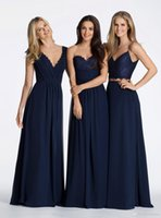 Wholesale Vintage Navy Blue A Line Chiffon V neck Long Bridesmaid Dresses Cheap Hayley Paige Bridesmaids Evening Prom Dresse