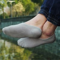 Cheap Men's Loafer Socks Fashion Bamboo Fiber Socks Male Brief Invisible Slippers Shallow Mouth No Show Low Cut Socks