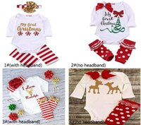 american girl boots - Baby Ins Clothing Sets Christmas Romper Headband Xmas Ins Outfits Elk Pumpkin Halloween Onesies Boot Cuffs Hairband Suits