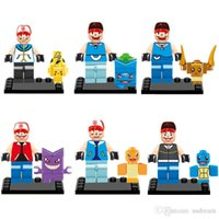Wholesale Poke Pocket Monster Pikachu mini Figure Charizard Bulbasaur Squirtle Minifigures Building Blocks toys plastic Baby brick Toys dolls