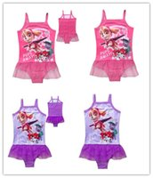 Wholesale fashion Dog Paw Girls Cartoon Swimsuits Girls One Piece Tutu Dress Swimwear Kids Beach Swimming Clothes D696