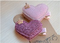 Wholesale Baby Girls Hair Accessories Sequin Heart Bear Shiny Fabrics And Crown Hair Clip Kids Children Hairpin kk1104