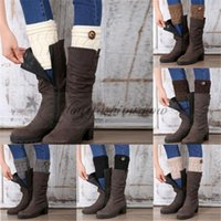 Wholesale fashion women thicken keep warm Twisted Buckle Leg Warmers Handmade Crochet Knitted Boot Cuffs Boot Socks High Knee Boot Topper Z379