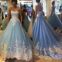 baroque pictures - Sky Blue Princess Prom Dresses Ruched Tulle White Lace Appliques Zipper Back Evening Dresses Baroque Skirt Train Formal Vestidos De Noiva