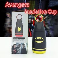 Wholesale kids gift Cartoon Avengers insulated bottle ML Vacuum mug thermoses Vaccum Flasks Avengers cup stainless steel cup black
